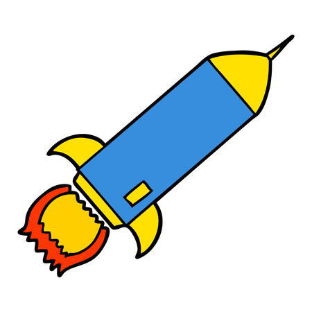cartoon rocket Vector illustration.