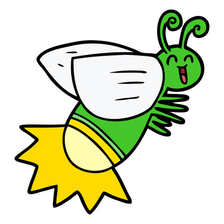 cartoon glow bug Vector illustration.