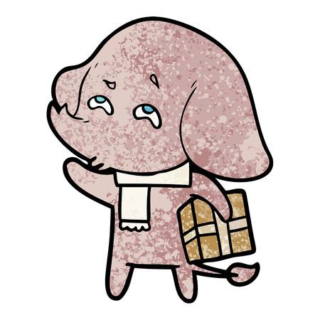 cartoon elephant with gift remembering Vector illustration. Illustration