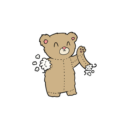 Cartoon teddy bear with torn arm illustration on white background.