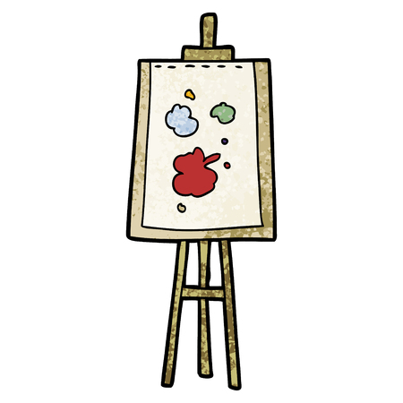 cartoon painting easel Vector illustration.
