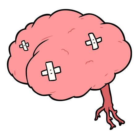 cartoon injured brain Vector illustration.