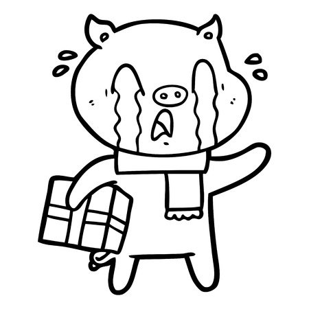Crying pig cartoon delivering Christmas present illustration on white background.