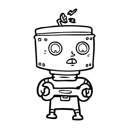 cartoon robot with spanner Vector illustration.