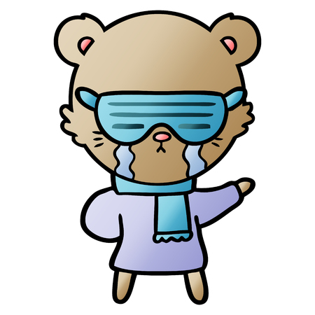 crying cartoon bear wearing rave sunglasses Vector illustration. Reklamní fotografie - 95740456