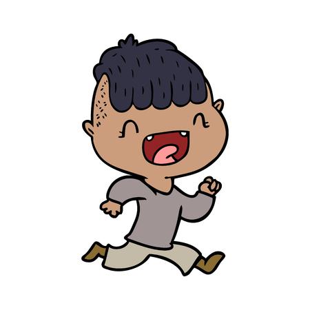 cartoon happy boy laughing and running away Vector illustration. Stock Illustratie
