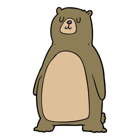 白い背景に隔離された漫画のクマ。  イラスト・ベクター素材