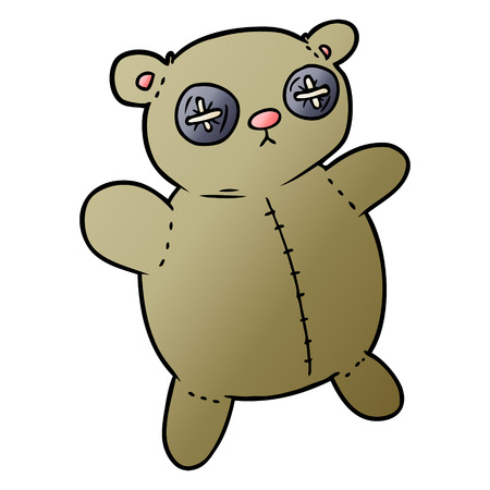 old teddy bear cartoon Vector illustration.  イラスト・ベクター素材