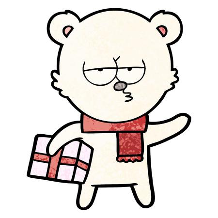 christmas polar bear cartoon Vector illustration.