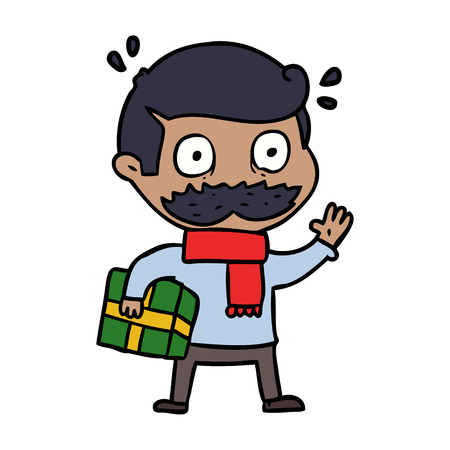 cartoon man with mustache and christmas present Vector illustration.