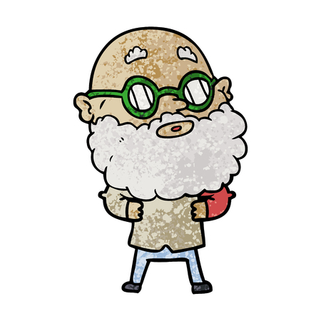 A cartoon curious man with beard and glasses isolated on white background.