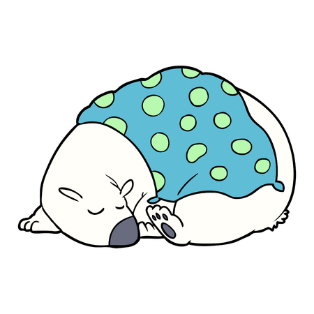 cartoon polar bear sleeping Vector illustration.