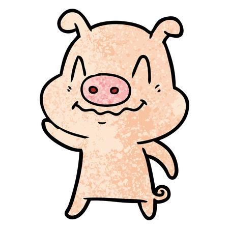 nervous cartoon pig Vector illustration. Illusztráció