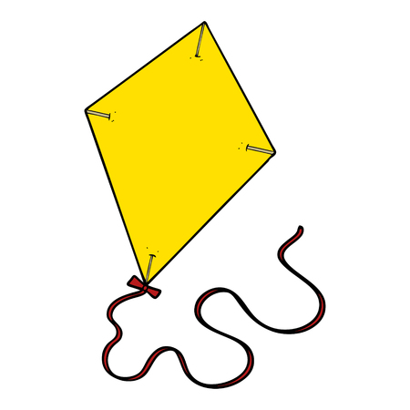 A cartoon flying kite isolated on white background.
