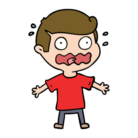 cartoon man totally stressed out Vector illustration. 向量圖像