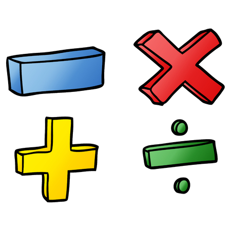 cartoon math symbols Vector illustration. Stock Illustratie
