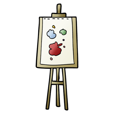A cartoon painting easel isolated on white background. Illustration