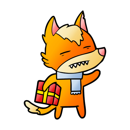 fox cartoon character with present Vector illustration. Illustration