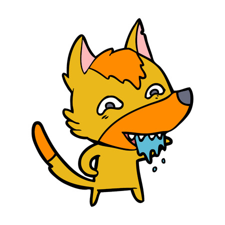 A hungry fox cartoon character isolated on white background.