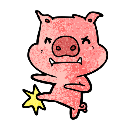 angry cartoon pig karate kicking Vector illustration. Illustration