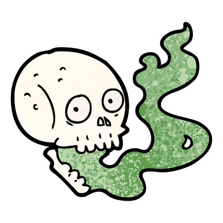 cartoon haunted skull Vector illustration. Çizim