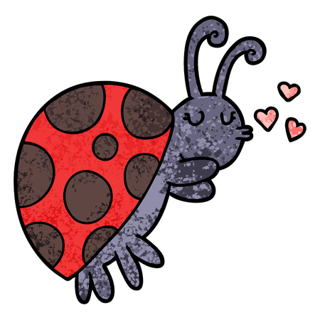 A cartoon ladybug isolated on white background.