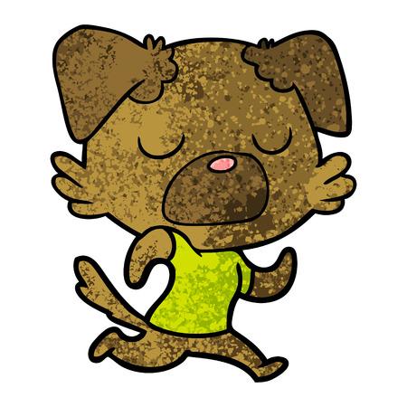 漫画犬ジョギングベクターイラスト。