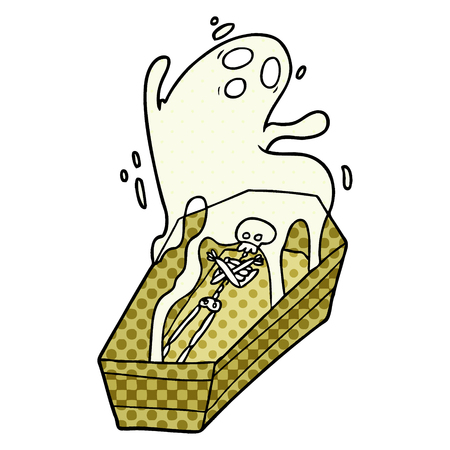 A cartoon ghost and coffin isolated on white background. Illustration