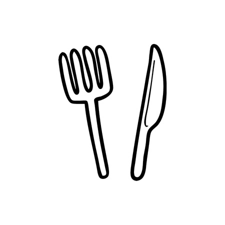 Cartoon knife and fork  イラスト・ベクター素材
