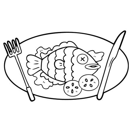 cooked fish cartoon Ilustrace