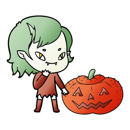 cartoon friendly vampire girl considering pumpkin