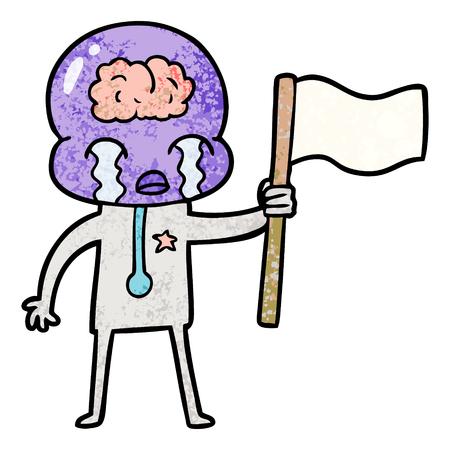 旗を振る大きな脳エイリアンを泣く漫画