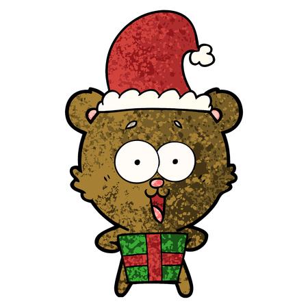 laughing christmas teddy bear cartoon Vector illustration.