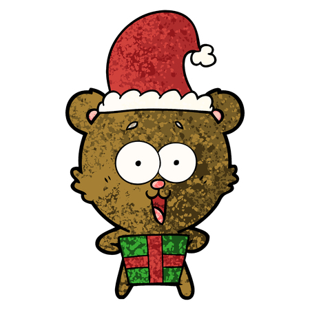 laughing christmas teddy bear cartoon Vector illustration.
