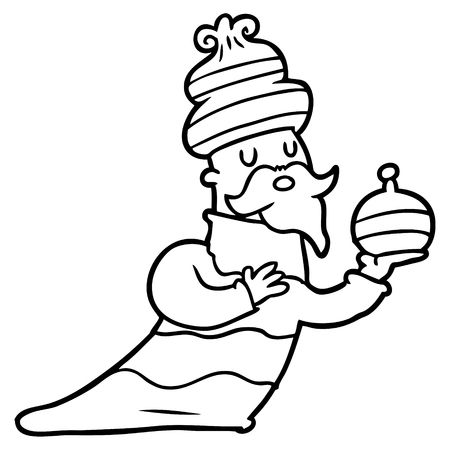one of three wise men cartoon Vector illustration. Illustration