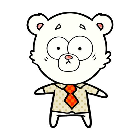 polar bear in shirt and tie cartoon Vector illustration. Foto de archivo - 95745205