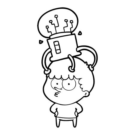 cartoon curious boy with neural link