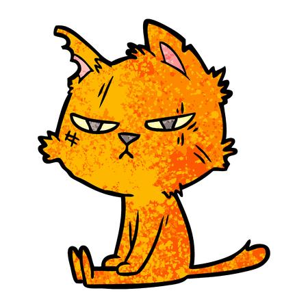 tough cartoon cat sitting