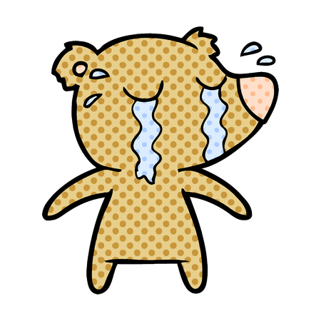 crying bear cartoon character illustration design  イラスト・ベクター素材