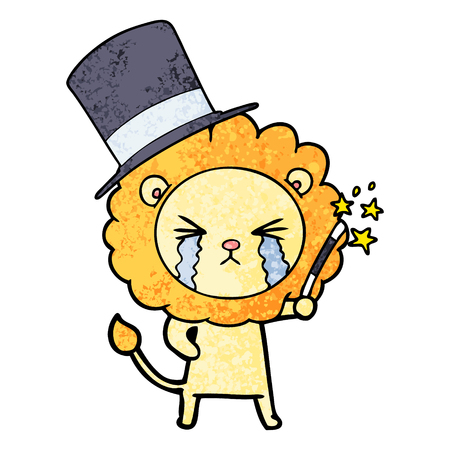 cartoon crying lion magician Illustration