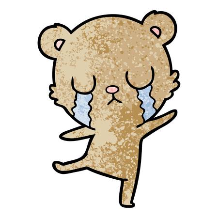 crying cartoon bear doing a sad dance