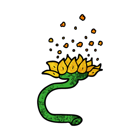 cartoon flower releasing pollen
