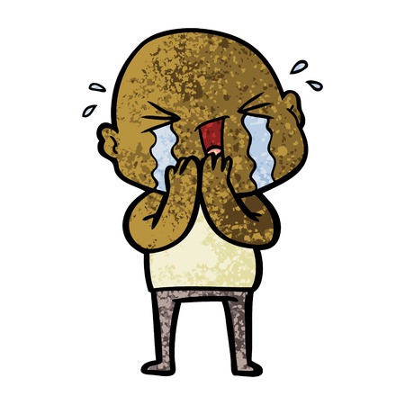 cartoon crying bald man Çizim