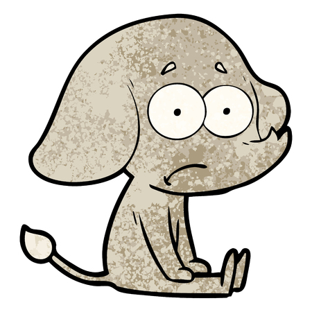 cartoon unsure elephant sat on floor Иллюстрация