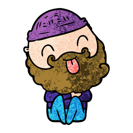 man with beard sticking out tongue Vectores