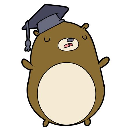漫画の卒業生のクマ  イラスト・ベクター素材