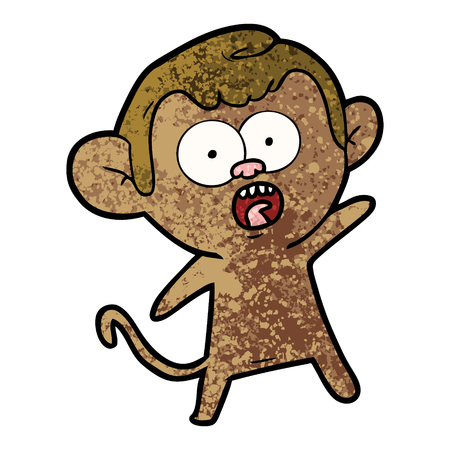 cartoon shocked monkey Çizim
