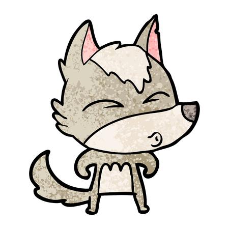 cartoon wolf whistling Çizim