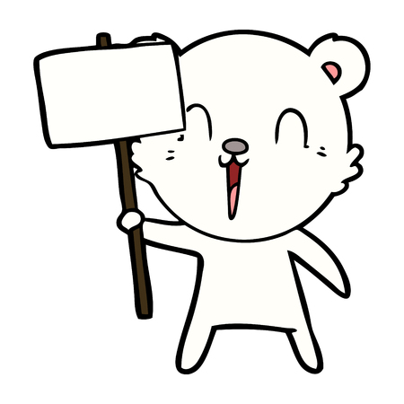 White polar bear with protest sign cartoon character