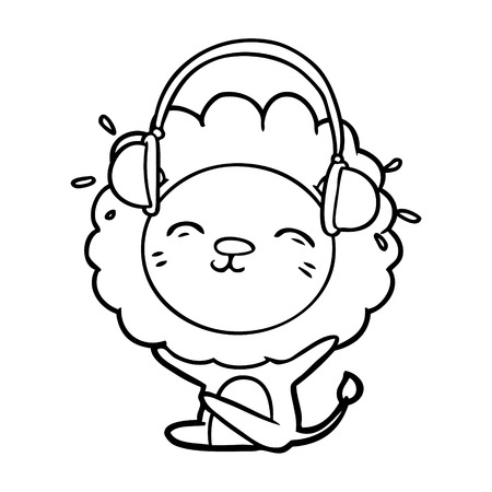 cartoon lion listening to music